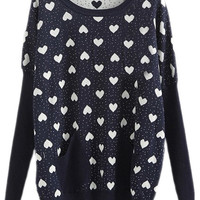 ROMWE | Navy Long Sleeve Hearts Pattern Loose Jumper, The Latest Street Fashion