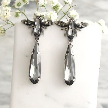Gray Earrings, Gray Chandelier Earring, Fly Earrings, Entomology Jewelry, Insect Earrings, Long Butterfly Earrings, Gothic Bridal Earrings