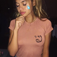 Fashion Drake Tear Embroidery Crop Top mighty funny Drake T Shirt Girls Sweet Top Tees omweekend Hotline Bling Cropped Top