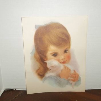 vintage northern bathroom tissue long brown haired girl  cat print picture wall decor