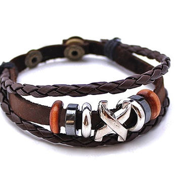 Great Deal Awesome Shiny Hot Sale Gift New Arrival Men Leather Strong Character Creative Simple Design Stylish Bracelet [6526717443]