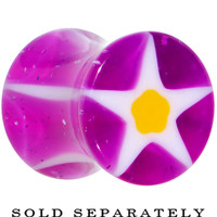 0 Gauge Acrylic Purple White and Yellow Star Saddle Plug | Body Candy Body Jewelry