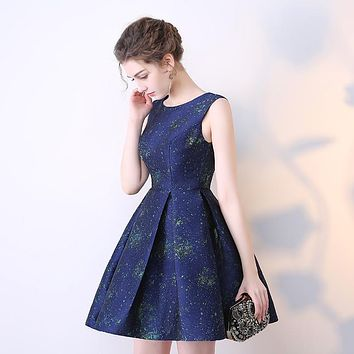 Short Prom Dresses 2017 A-Line Real Photo Girls Dresses Sleeveless Dark Blue Special Occasion Dress Party Dresses