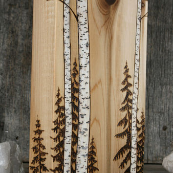 Birch Trees - Art Block - Wood burning