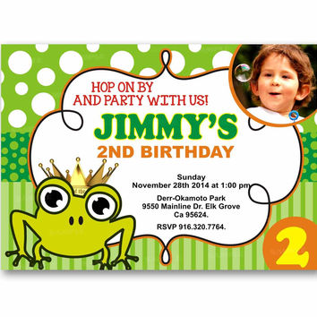 Frog Prince Green Stripes Polka Dot Kids Birthday Invitation Party Design
