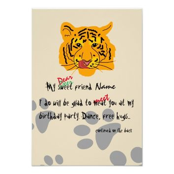 Tiger Birthday Party Customizable Card