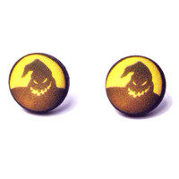"Handmade Nightmare Before Christmas Inspired ""Oogie Boogie"" fabric button earrings Halloween jewelry"