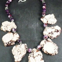 Large Howlite Slab Necklace with Purple and Brown Agate Gemstones | BellaSweet - Jewelry on ArtFire