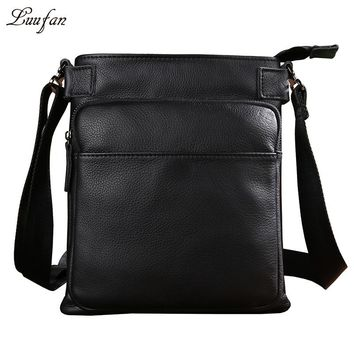 Men's genuine Leather shoulder bag for iPad Real leather casual messenger bag Cow leather small business bag