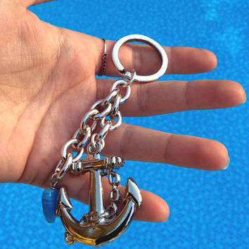 Anchor charm keychain, anchor and chain keyring, glass bead, set of 5, summer theme, wedding favour, baptism favour