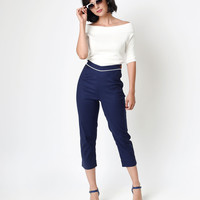 Collectif Retro Style Nautical Navy Solene Cigarette Trousers