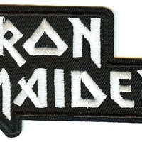 Iron Maiden Iron-On Patch Stacked White Letters Logo