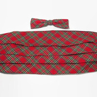 Vintage 60s Bow Tie & Cummerbund Set | 1960s Cummerbund Clip on Bow Tie Set | Red Scottish Plaid | 60s Menswear | Suiting | Crown Chicago