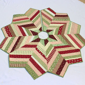 Quilted Christmas Tree Skirt-Mistletoe Lane Fabric Chevron Style Strings Tree skirt, Burgundy, Pink and Green Quilt