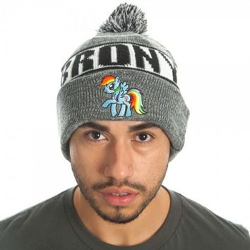 5a2c66497e7 My Little Pony Rainbow Dash Brony Rolled Slouch Beanie Hat - My