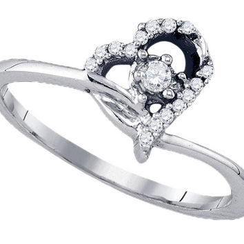 10k White Gold Round Diamond Womens Heart Dainty Promise Bridal Engagement Ring 1/10 Cttw 77576