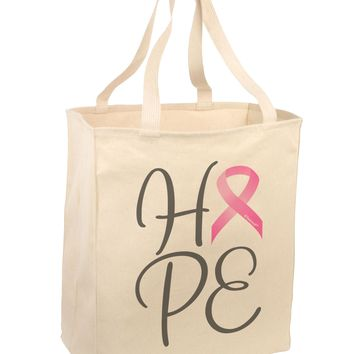 Hope - Breast Cancer Awareness Ribbon Large Grocery Tote Bag