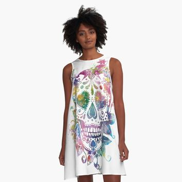 'Sugar Skull' A-Line Dress by MonnPrint