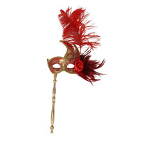 Elegant Red Gold Swan Hand Held Venetian Masquerade Stick Mask w/ Feathers