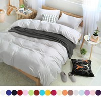 Custom 600TC Cotton Printed Hotel Bedding sets King Queen size Solid Luxury Duvet Quilt Cover Sheet set Linens Gray Bedclothes