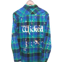 Wicked the Musical Shirt in Green/Blue Plaid