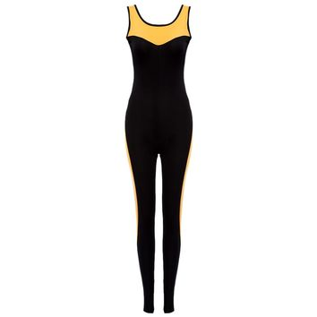 Active Round Collar Color Block Cut Out Jumpsuit for Women