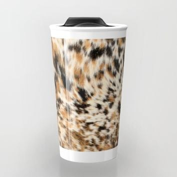 Rustic Country Western Texas Long Horn Cow Animal Hide Prints Travel Mug by KateLCardsNMore