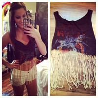 Dip Dyed Star Wars Fringe Tank Top Sz. Medium