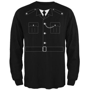 DCCKU3R Halloween British Bobby Copper Police Costume Mens Long Sleeve T Shirt