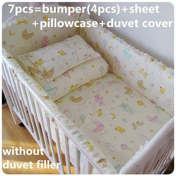 Promotion! 6/7PCS baby bedding set baby girl crib bedding set cartoon baby crib set, 120*60/120*70cm