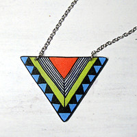Geometric necklace  Chevron necklace Triangle by MakeUnique