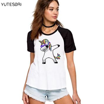 Dabbing Unicorn Cotton T Shirt Summer Raglan Fashion Women Dab Dance Hipster T-shirts Top Hiphop Harajuku Tee Shirt Femme