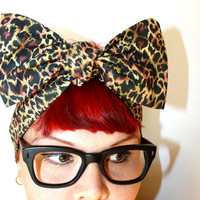 Bow hair tie Leopard print, Animal print, Rockabilly, Retro, Pin Up, 1950s