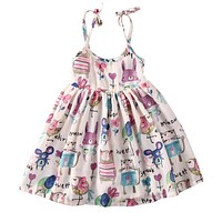 Cute 1-6Y Baby Girl Clothes Toddler Kids Tank Dress Slip Dress Summer Graffiti Holiday Dress