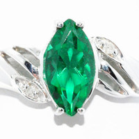 2 Carat Emerald Marquise Diamond Ring .925 Sterling Silver Rhodium Finish White Gold Quality