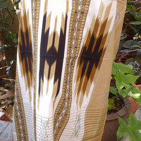 man's sarong light tan and cream with green edging MT2