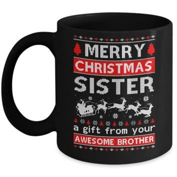 IKCKIJ3 Merry Christmas Sister A Gift From Your Brother Sweater Mug