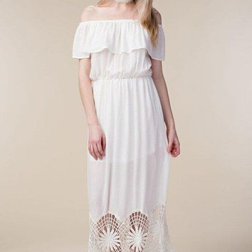 Allie Strapless Crochet Hem Maxi Dress