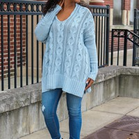 Campfires & Cocoa Sweater - Dusty Blue