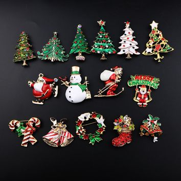 Christmas Color Stone Brooches