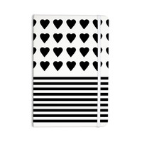 "Project M ""Heart Stripes Black and White"" Monochrome Lines Everything Notebook"