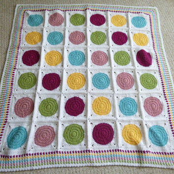 Crochet Colorful Dots Baby Blanket