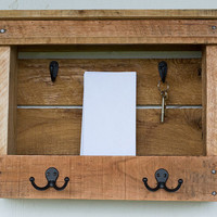 Wood Mail Organizer - Entryway Coat Hooks - Mail Storage - Key Hook - Mail and Key Holder - Organizer - Pallet Furniture - Pallet Wood Shelf