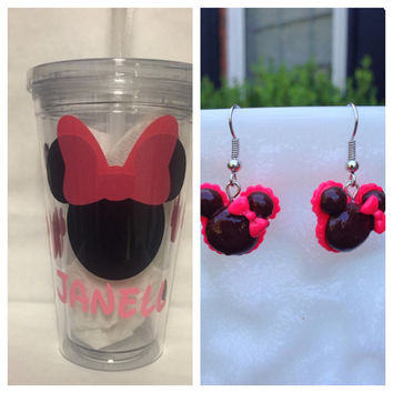 Gift Bundle Minnie Personalized Tumbler and Earrings