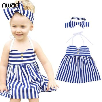 Striped Baby Girl Dress Toddler Princess Suspenders Girls Dresses Summer Baby Kids Clothes Children Clothing Bow Headband FA006