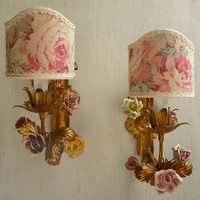 Pair of Antique Italian Gilded Tole Porcelain Flowers 1 Arm Wall Sconces with Roses Clip On Lamp Shades