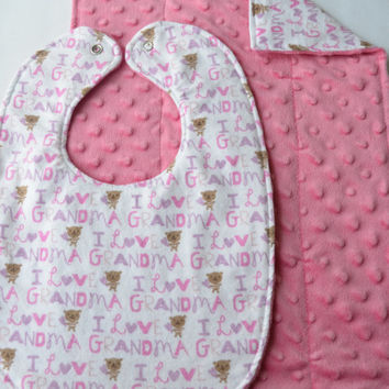 Girl's Reversible I Love Grandma Bib and Burp Cloth Set