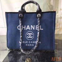 HCXX 19Aug 683 Fashion Canvas Embroidered Chain Tote Casual Large Shopper 37-30-18cm