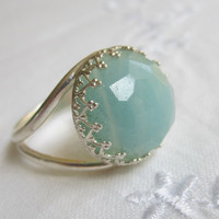 Amazonite ring, Silver ring, Vintage ring, Silver cocktail ring, 14 mm Gemstone ring, Faceted pastel aqua blue amazonite ring, bridal ring
