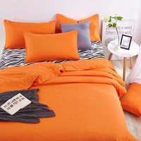 Summer Cotton Home Bedding Set Zebra Bed Sheet and Orange Duver Quilt Cover Pillowcase Soft and Comfortable King Queen Full Twin